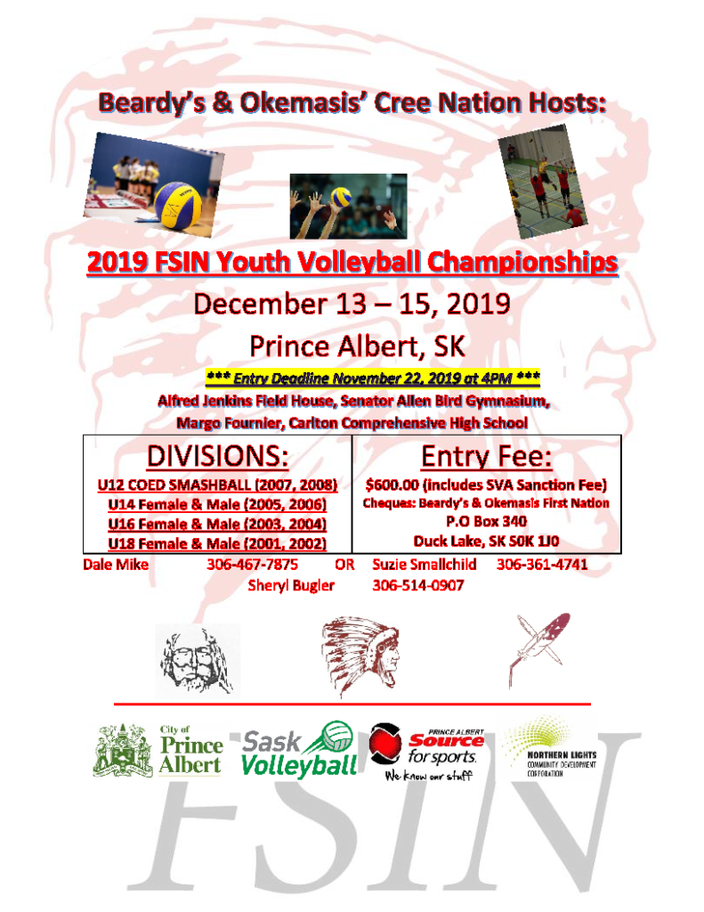 2019 FSIN Youth Volleyball Championships - Poster - revised
